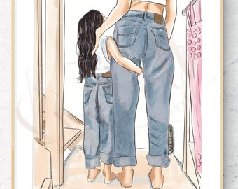 Matching mommy & Me Fashion Illustration Print -Custom Original mother daughter Fashion Illustration jeans comfy matching outfit