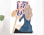 Original Artist Painter Crafter Girl Fashion Illustration Print - Custom Illustration - Original Fashion Sketch - Fashion Illustration Print