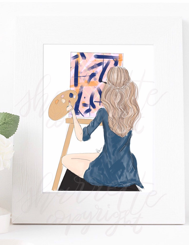 Original Artist Painter Crafter Girl Fashion Illustration image 0