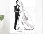 Bride and Groom Engagement Wedding Print - Fashion Sketch - Wedding Fashion Illustration