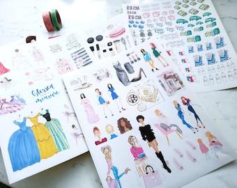 Fashion Planner Stickers Happy Planner fashion set - Matte, Permanent / Planner Agenda Stickers, Fashion Art, Fashion Illustration Stickers