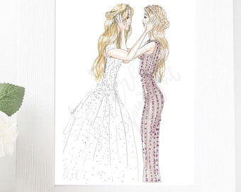 Personalize Portrait Illustration of Bride and Bridesmaid or Bride and Maid of Honor - personalizable Illustration Fashion Illustration Mug