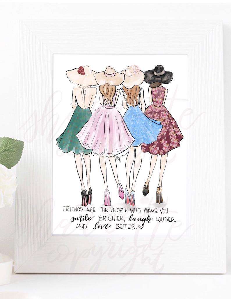 Tea Dresses Sisters Friends Fashion Sketch Illustration image 0
