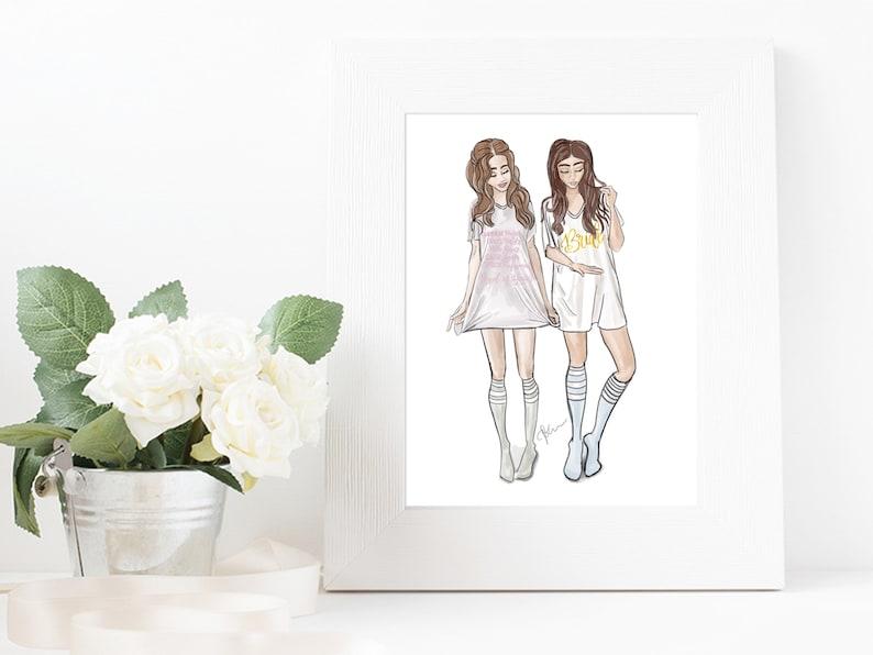 Original Bride & Maid of Honor Fashion Illustration Print  image 0