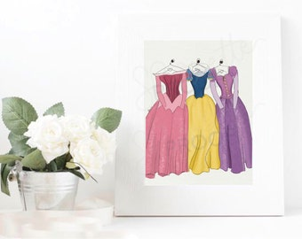 Digital Download Princess dress - Aurora -Sleeping Beauty, Snow White, Repunzel - Illustration - Girly Princess Pink - Home Decor - fashion