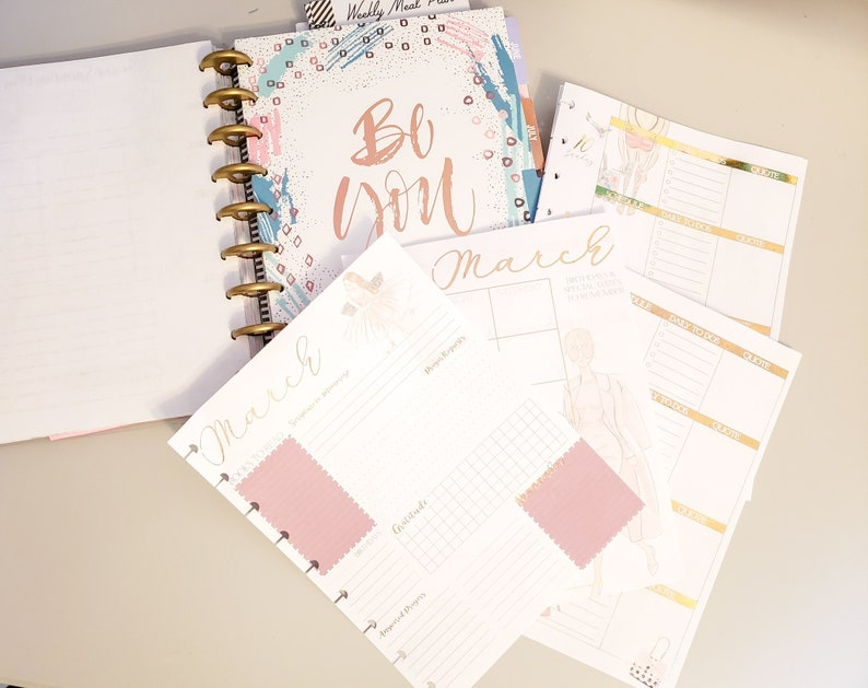 Metallic Foiled happy planner Planning Page Digital download image 0