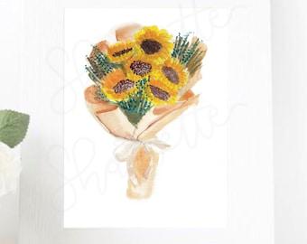 Sunflower Watercolor flower Printable Art, Spring floral Printable Art, watercolor art, floral decor, Home Decor, Wall Decor, nursery decor