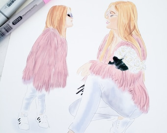 One (1) Fashion Outfit and Model Illustrations