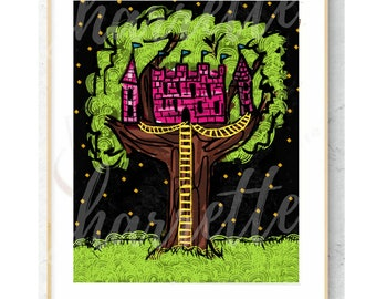 Princess Castle Treehouse - children's digital art download for decor or stickers - hand drawn