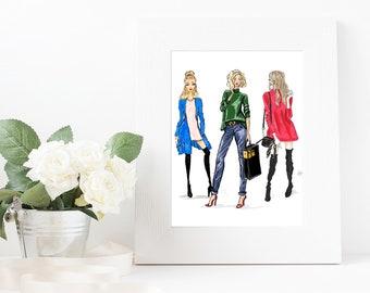 Original Fashion Illustration Print;Custom Illustration; Original Fashion Sketch; Fashion Illustration Print; Casual Fashion Original Sketch