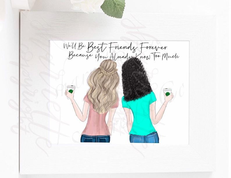 Custom best friend card  custom fashion illustration  image 0