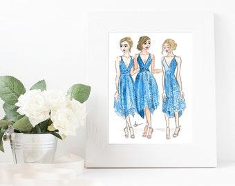 Bridesmaids Original Fashion Illustration Print - Custom Illustration - Original Fashion Sketch - Fashion Illustration Print - Bride Wedding