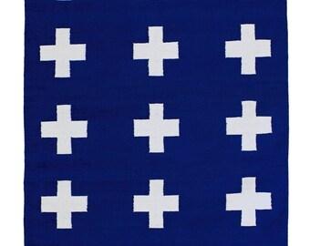 UNION RUG NAVY- 4x6 cotton flatweave rug plus sign cross rug carpet