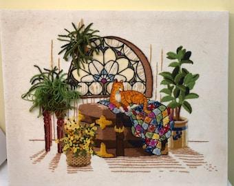 Chat amoureux Vintage tapisserie travail Art complet des années 80?
