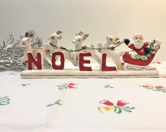Vintage NOEL Christmas Santa Sleigh Reindeer Candle Holder Relco 50s