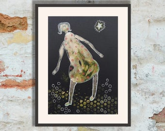 Mixed Media Wall Art Figurative Original Painting Girl Female Woman Wish On A Star Quirky Feminist Naive Arty Gift Mother Daughter Sister