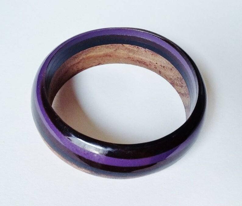 Wooden Lucite Bangle Colour Block Wood Striped Cuff Purple Mauve Black Brown Smart Minimalist