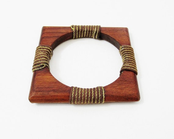 Wooden Bangle Modernist Square Geometric Wood Gold Wrapped Unusual Cuff