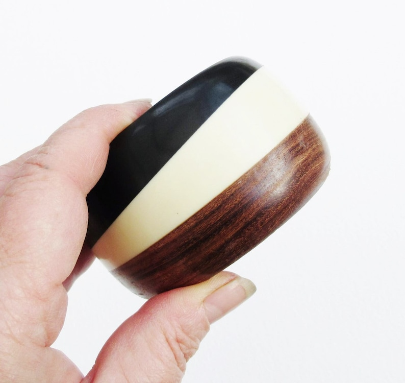 Wood /& Lucite Bangle Black Brown Cream Vintage Deep Wide Chunky Cuff Plastic Wooden Striped