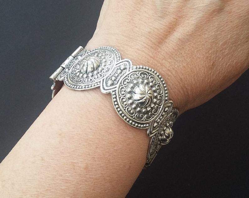 Hinged Bangle Silver Tone Textured Mandala Effect Ornate Raised Surface Repousse Boho Tribal Cuff