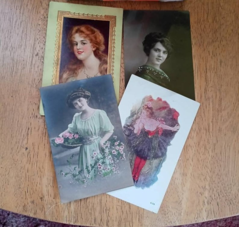 Vintage Ladies Postcards CHOOSE ONE Free Domestic Shipping Lady Dancer Basket With Flowers Long Red Hair