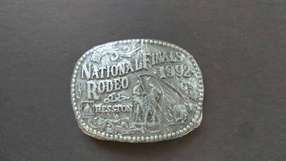 Vintage 1993 Hesston National Finals Rodeo Youth Size Belt Buckle FREE SHIPPING!