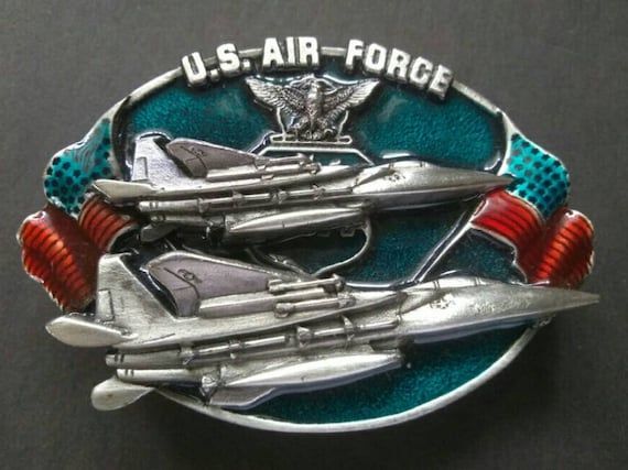 MADE IN USA United States AIR FORCE Military Belt Buckle Pewter HAND PAINTED