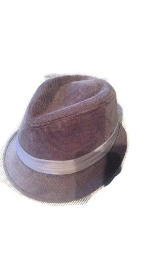 LEI Vintage fedora gray corduroy hat,horse racing,
