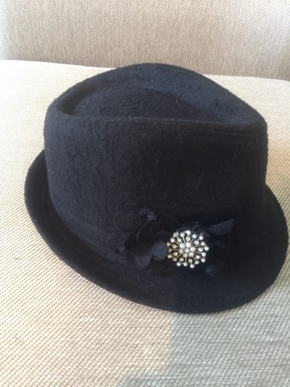 57b4e2192ab Vintage black wool hat 1950s wedding fedora retro black