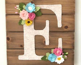 Marvelous Nursery Wall Art, Personalized Wall Letter, Wall Art, Felt Flowers, Wood  Wall Hanging, Wood Wall Hanging, Letter Wall Decor, Nursery Decor
