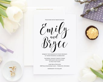 PRINTABLE Wedding Invitation - Black Modern Calligraphy Script Wedding Invitation - Emily Hand Lettering Invitation - Customizable Colors