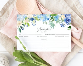 Floral Recipe Card - Printable Watercolor Blue Hydrangeas and Ivory Roses Garland Bridal Shower Recipe Card - Instant Download #024