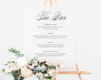 INSTANT DOWNLOAD - Printable Wedding Bar Menu Template - Katie Script Suite - Elegant Signature Drinks Menu - 8x10 & 16x20 Editable Sign