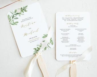 Wedding Program Fan Template.Wedding Program Fan Etsy