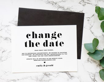 Change the Date Announcement Template - Printable Retro Bold Typography Wedding Date Change Postponed Announcement Card - DIY Editable