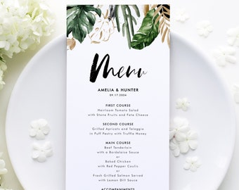 DIY Tropical Wedding Menu Card Template - Printable Watercolor Tropical Leaves Gold Foil Summer Menu Card - Editable Menu Templett TF40