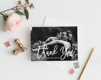 PRINTABLE Thank You Postcard - Hand Lettered Script Photo Thank You Postcard - Wedding Thank You Overlay Postcard - Customizable Colors
