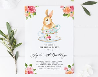 Printable Birthday Tea Party Invitation - Watercolor Bunny on Teacups Floral Birthday Invitation Template - 100% Editable - Instant Download