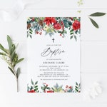 INSTANT DOWNLOAD - Printable Baptism Invitation - DIY Invitation - Watercolor Festive Christmas Flowers Baptism Invitation Template