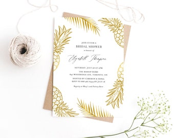 Tropical invitations etsy instant download bridal shower invitation template gold tropical pineapples bridal shower invitation printable tropical invitation filmwisefo
