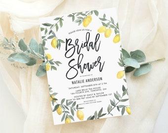 c96b86e787c INSTANT DOWNLOAD - Printable Bridal Shower Invitation Template - Boho  Watercolor Lemon Wreath Bridal Shower Invitation - Editable Invitation