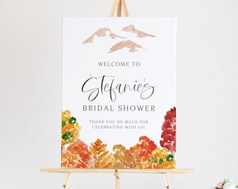 DIY Autumn Bridal Shower Welcome Sign Template - Printable 18x24 Watercolor Fall Forest Woodland Bridal Shower Welcome Sign - Editable AF53