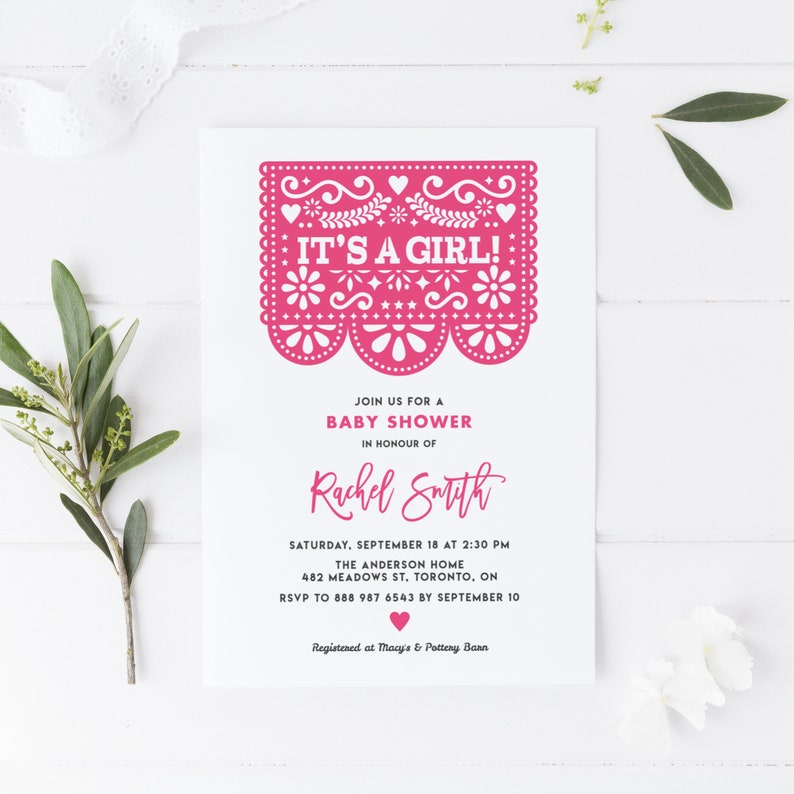 photo regarding Papel Picado Templates Printable referred to as Printable Boy or girl Shower Invitation Template - Crimson Papel Picado Fiesta Its a Lady Little one Shower Invite - Customizable Coloration - Editable PPX84