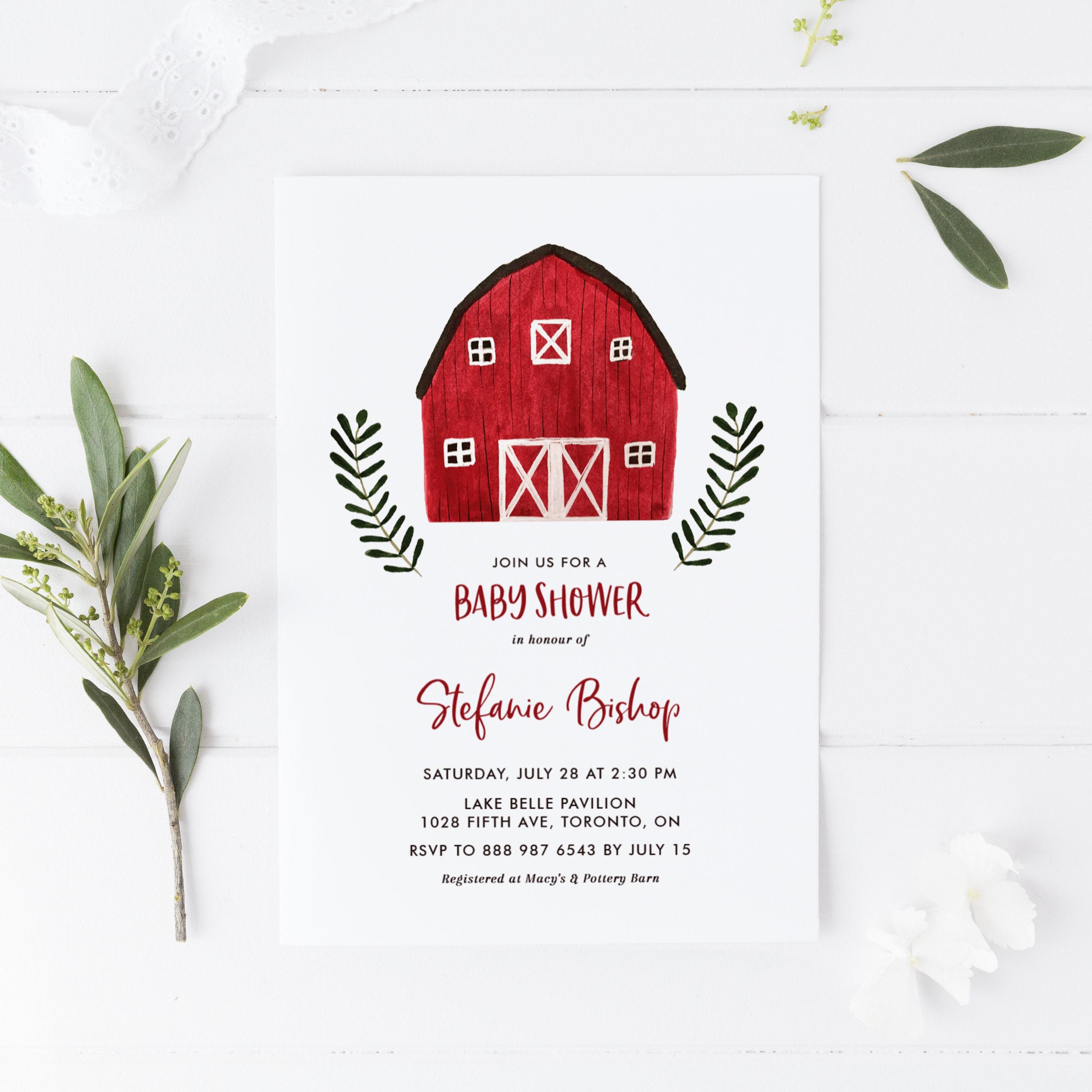 Editable Rustic Baby Shower Invitation Template - Printable Watercolor Red  Farmhouse Invitation - Barnyard Baby Shower Invitation