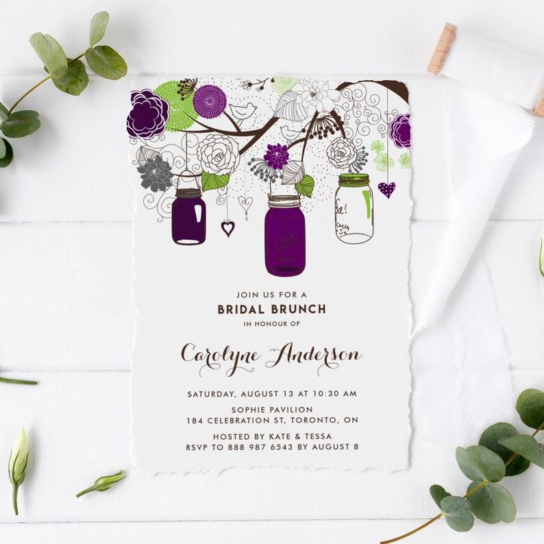 Printable Bridal Shower Invitation - Purple Mason Jars and Flowers  Invitation Template - 100% Editable Mason Jar Invite - Instant Download