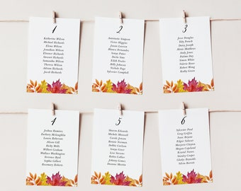 Rustic Fall Wedding Seating Cards Template - Printable 4x6 and 4x9 Watercolor Falling Leaves Autumn Wedding Table Plan - DIY Editable WFL18