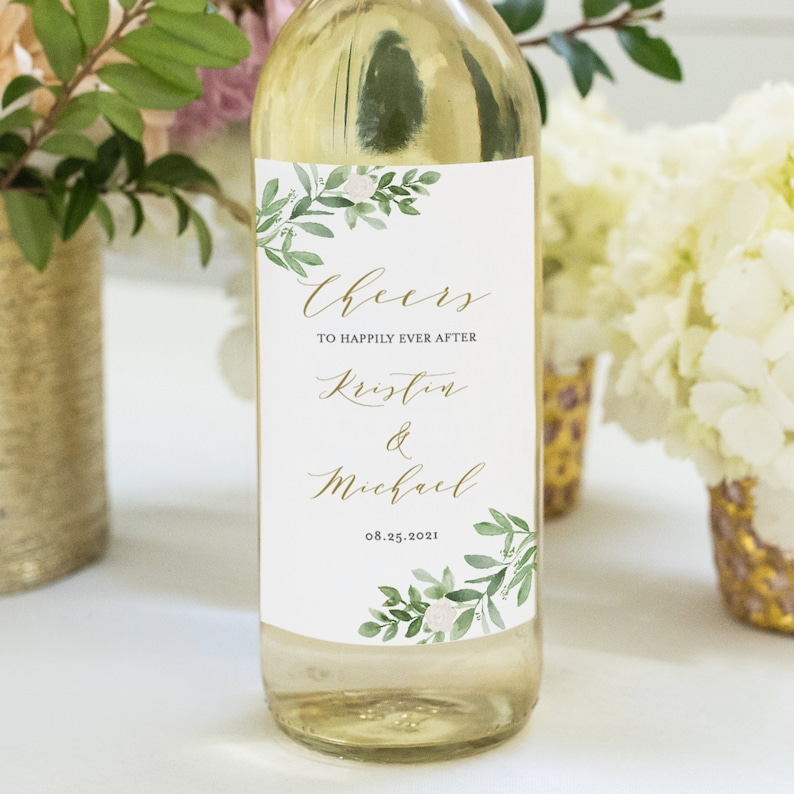 Printable Avery Label 3x5 /& 3.5x5 Greenery Wedding Wine Bottle Labels Template Watercolor Greenery and White Flowers Wedding Favor GWF23