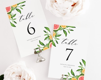 Printable Grapefruits Wedding Tables Number Cards Template - DIY 4x6 & 5x7 Citrus Theme Summer Table Numbers - Editable Table Numbers - #013