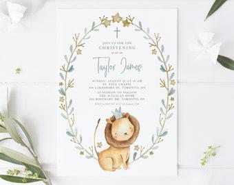 DIY Lion Prince Baptsim Invitation Template - Printable 5x7 Watercolor Lion Christening Invitation Template - Editable Lion Invite WLP32