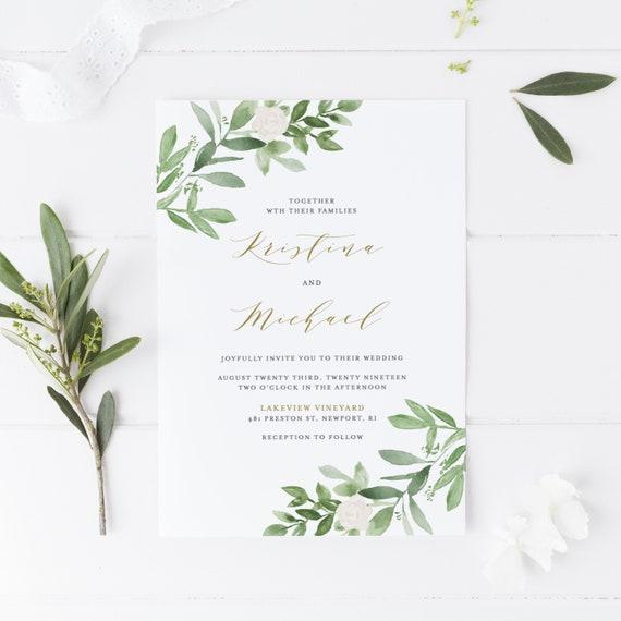 Greenery Wedding Menu Card Template Editable Templett GWF23 DIY Printable Watercolor Greenery and White Flowers Menu Card